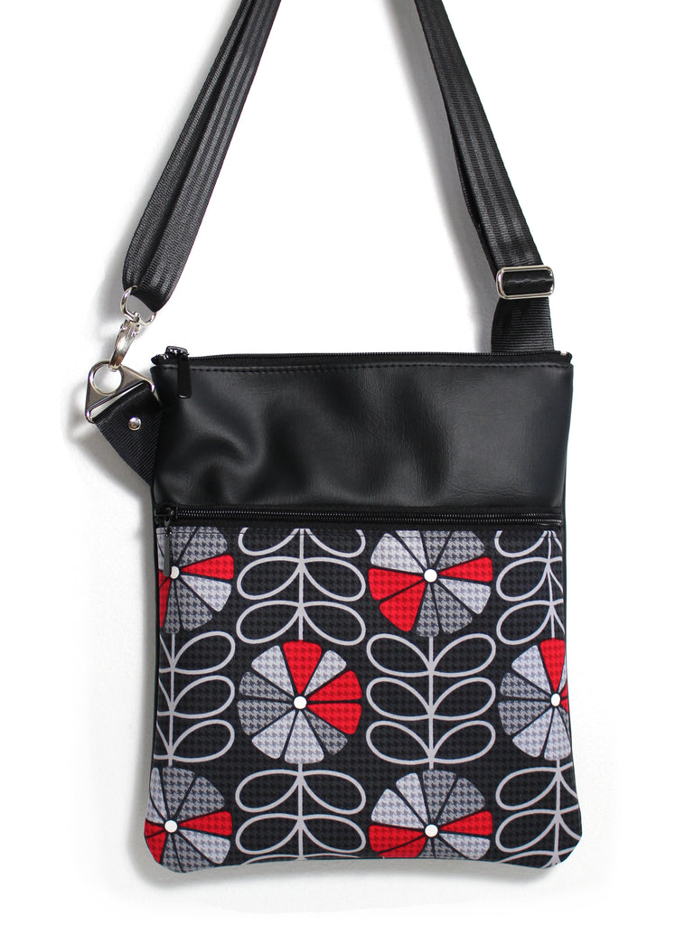 LARGE ZIP-IT - HOUNDSTOOTH POPPIES