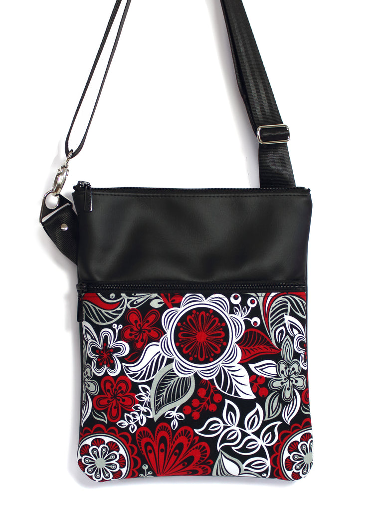 LARGE ZIP-IT - RED GREY WHITE FLORAL PAISLEY - HANDMADE VEGAN iPAD BAG