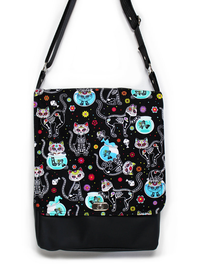 LARGE MESSENGER BAG - DAY OF THE DEAD KITTIES