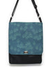 LARGE MESSENGER BAG - GEO RAINDROP BLUE - UNISEX VEGAN BAG