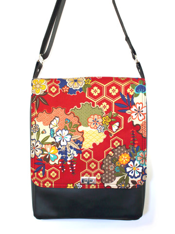 LARGE MESSENGER BAG - HONEYCOMB SAKURA - HANDMADE VEGAN BAG