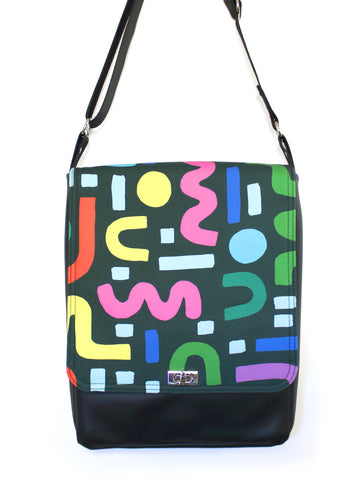 LARGE MESSENGER BAG - SQUIGGLE - HANDMADE VEGAN BAG