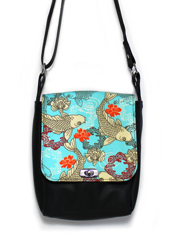 MINI MESSENGER BAG - AQUA KOI - HANDMADE VEGAN BAG