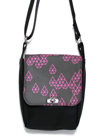 MINI MESSENGER BAG - GEO RAINDROP PINK - HANDMADE VEGAN BAG