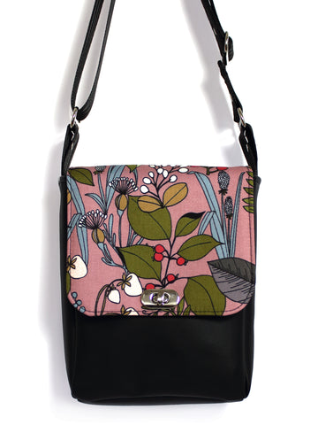 MINI MESSENGER BAG - GHASTLIES BOTANICAL PINK - HANDMADE VEGAN BAG
