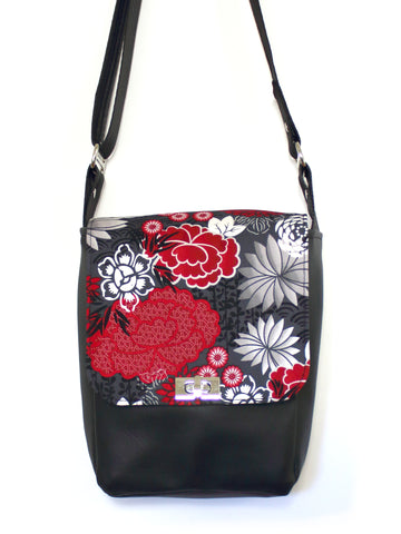 MINI MESSENGER BAG - HARAJUKU RED - HANDMADE VEGAN BAG