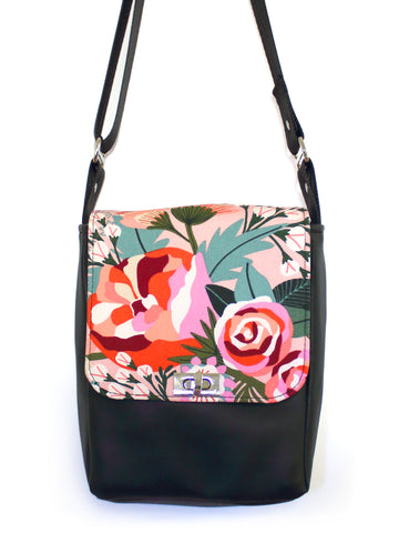 MINI MESSENGER BAG - KATZ FLORAL PINK - HANDMADE VEGAN BAG