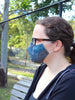 Large Face Mask - Blue Tiny Houndstooth - Washable 3 Layer Mask