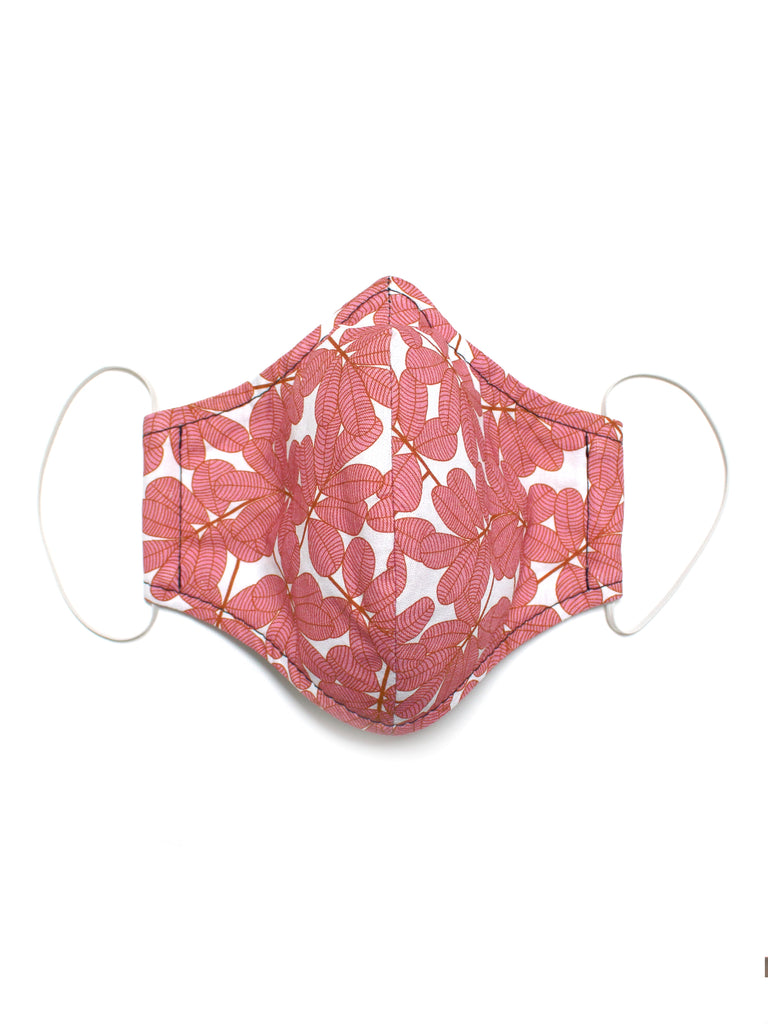 Large Face Mask - Pink Leaves - Washable 3 Layer Mask