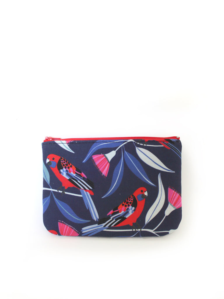 ZIPPERED POUCH - CRIMSON ROSELLAS