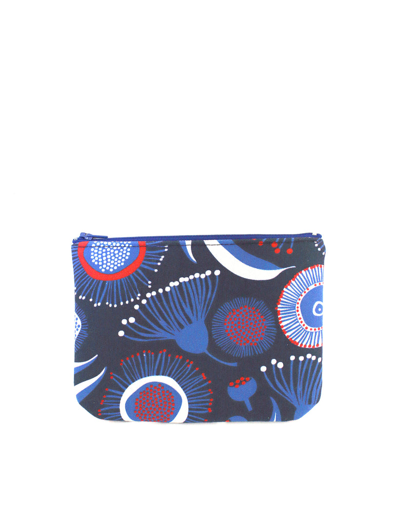 ZIPPERED POUCH - GUM BLOSSOMS NAVY