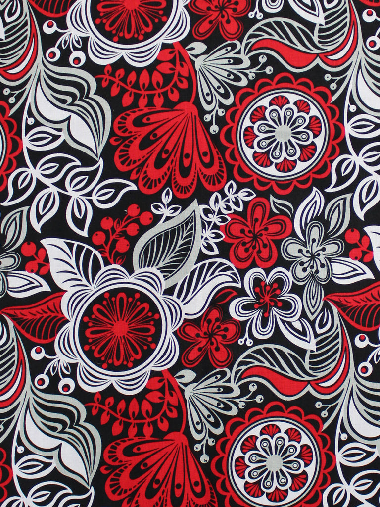 CUSTOM ORDER - RED GREY WHITE FLORAL