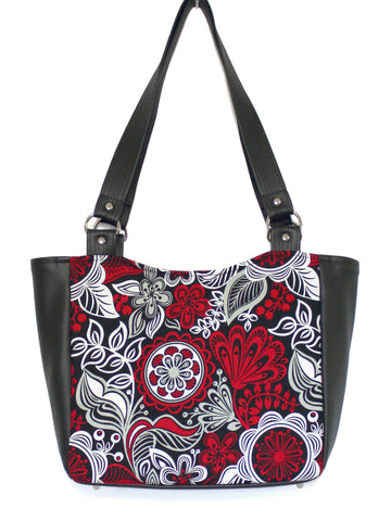 SMALL TOTE BAG - RED GREY WHITE FLORAL - HANDMADE VEGAN BAG