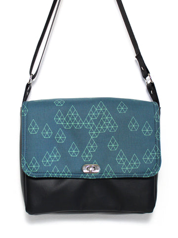 SMALL MESSENGER BAG - GEO RAINDROP BLUE