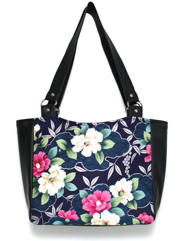 SMALL TOTE BAG - BLUE PURPLE ORIENTAL