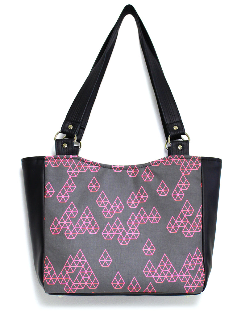 SMALL TOTE BAG - GEO RAINDROP PINK - HANDMADE VEGAN BAG