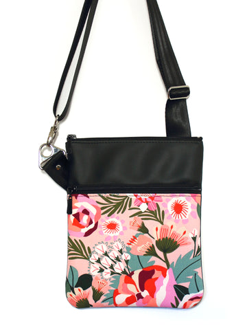SMALL ZIP-IT - KATZ PINK FLORAL - HANDMADE VEGAN BAG