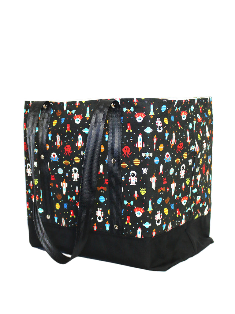 LUGGER - SPACE INVADERS - HANDMADE VEGAN REUSABLE BAG
