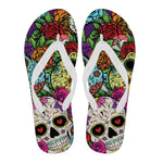SUGAR SKULL - MEN'S FLIP FLOPS (WHITE)