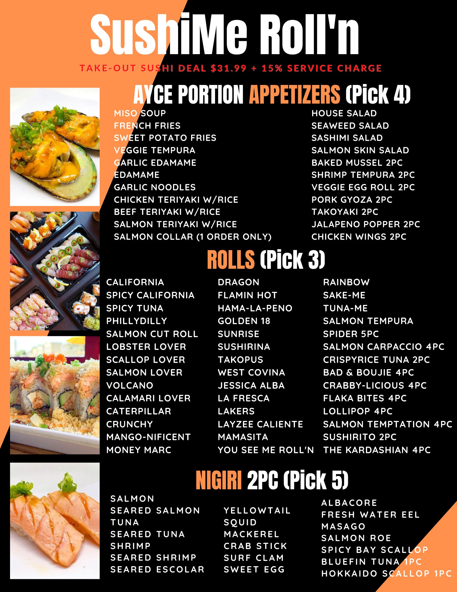 SushiMe Roll'n AYCE To-Go Menu