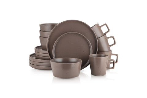 Stone Lain 16 Piece Stoneware Dinnerware Set, Service for 4, Brown Matte