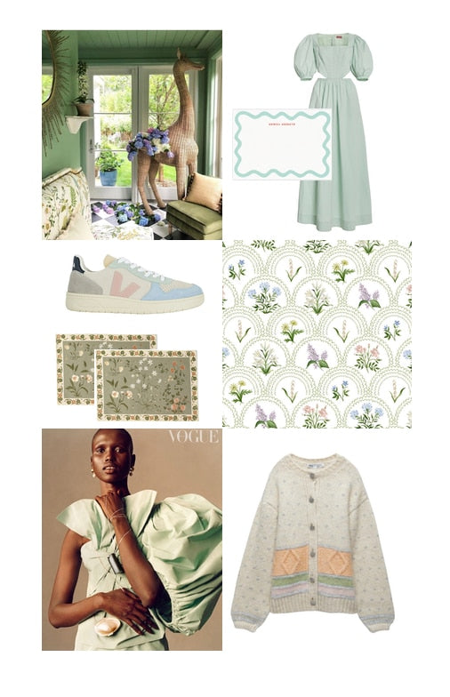 I've fallen prey to the grand millennial vibe and I suddenly can't get enough of this muted green color that's midway between sage and mint