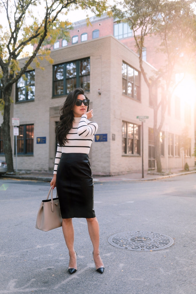 Confidence piece: the (faux) leather pencil skirt