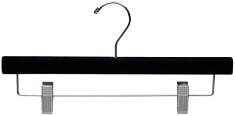 The Great American Hanger Company Black Velvet Pant Hanger w/Adjustable Cushion Clips, Box of 50 Flat Wood Bottom Hangers w/Chrome Swivel Hook for Jeans Slacks or Skirt