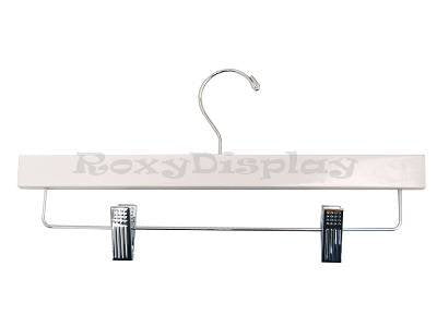 "(HA-500WH_100Unit) 14"" White Wooden PANT/SKIRT Hangers with clips, 100 Units"