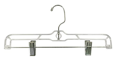 Jeronic 12 Pack Slack Pant Hangers Skirt Hangers With Clips, Clear