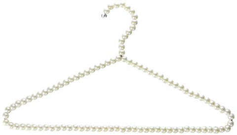 HANGERWORLD Pack of 6 Premium Metal Elegant Clothes Hangers Covered in Pearl Beads - 15.7 Inches