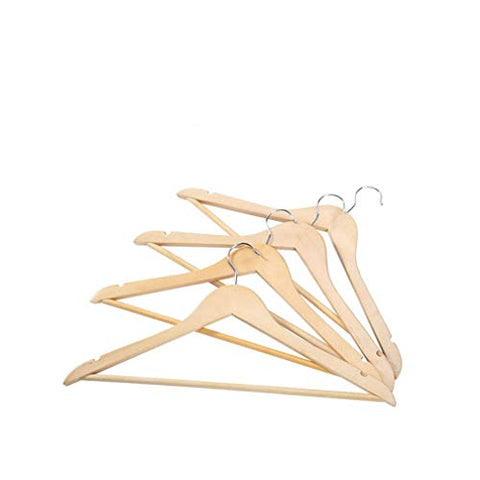 Xyijia Hanger 10 Pcs Natural Solid Wood Suit Hangers Non Slip Bar Precisely Cut Notches