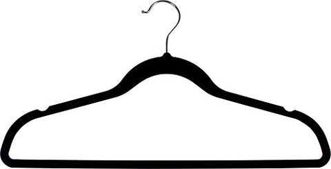 The Great American Hanger Company Black Rubber Coated Non-Slip Slim Line Suit Hanger, Box of 100 Durable and Flexible Ultra Thin Space Saving Clothes Hanger w/Steel Swivel Hook and Notches