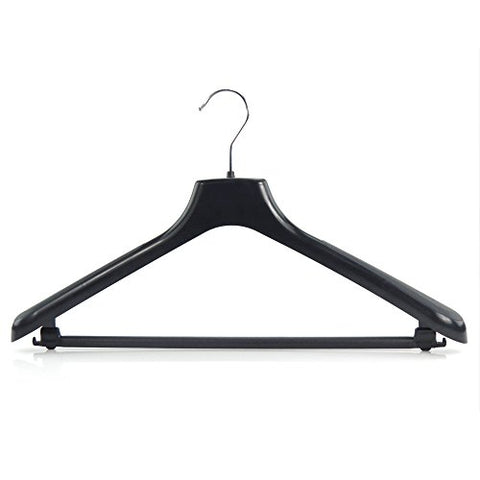 HANGERWORLD 5 Black 17.8inch Plastic Coat Clothes Garment Pant Skirt Bar Hangers 1.96inch Shoulder Support