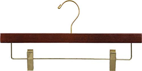 The Great American Hanger Company Wooden Bottom Hanger w/Clips, Walnut Finish with Brass Hardware, Box of 50