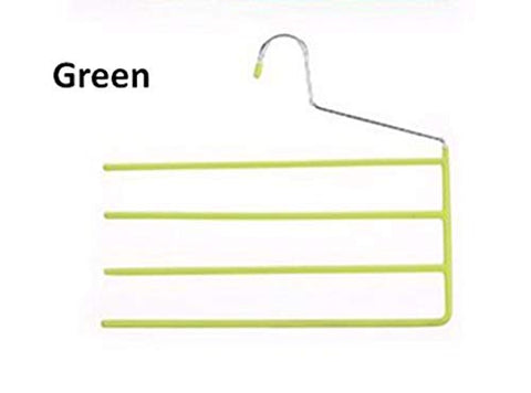 Xyijia Hanger 4 Pcs Colorful Non Slip PVC Multi- Layer Metal Pants Hanger, Space Saving Magic S Shape Trouser Rack Organizer