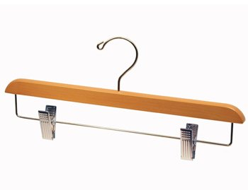 Light Oak Finish Pant/Skirt Hanger with Chrome Plated Metal Hardware - Small Box of 20