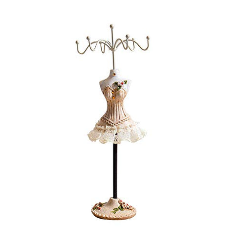 X Hot Popcorn Princess Skirt Rack Jewelry Holder Resin Dress Stand Hanging Necklace Earring Bracelet Rings Orgaziner (Champagne4)