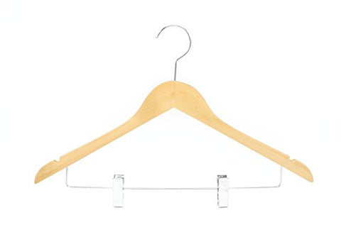 HIZHO Dutch Wood Suit Hangers with Pant/Skirt Clips and Precisely Cut Notches - 360 Degree Swivel Chrome Hook - Lacquered Finish Super Sturdy and Durable Wooden Hangers - 20 Pack