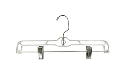 12 Pack Clear Plastic Slack Pant Hook / Skirt Cloth Hangers With Clips – Cloth Pant Bottom Hanger