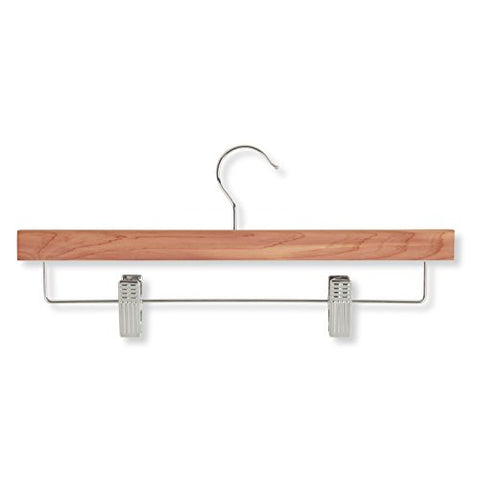 Honey-Can-Do HNG-01535 Skirt/Pant Hanger with Clips, Cedar, 4-Pack