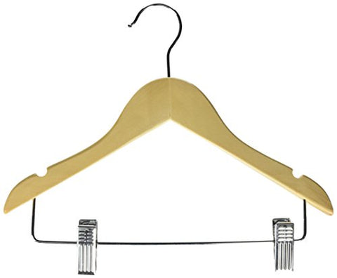 Honey-Can-Do HNGT01225 10-Pack Kid's Basic Hanger with Clips, m, 10, Maple