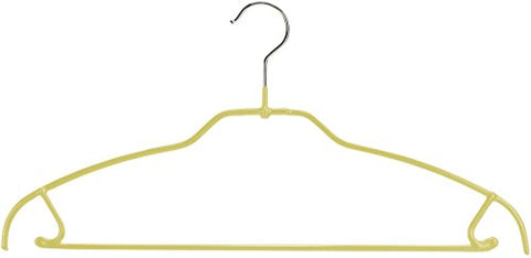 MAWA Silhouette Ultra Thin Non-Slip Space Saving Clothes Hanger with Bar and Hooks Style 42/FTU for Pants and Skirts, Pack of 2, Yellow, 2 Piece