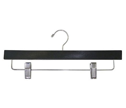 "American Hanger & Fixture XL300B Men's, Ladies 14"" Wide Black Lacquered Skirt and Pants Hanger"