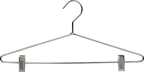 The Great American Hanger Company Slim Metal Combo Hanger w/Adjustable Cushion Clips, Box of 25 Thin and Strong Chrome Top Hangers for Dress Shirt or Pants