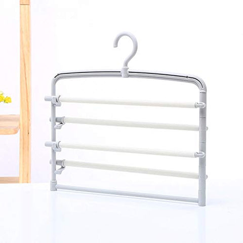 Xyijia Hanger Multilayer Pant Rack Household Skid-Proof Multifunctional Pants Hanging Magic Pant Rack Wardrobe Multi-Storey Clothes Hanger Pant Clip