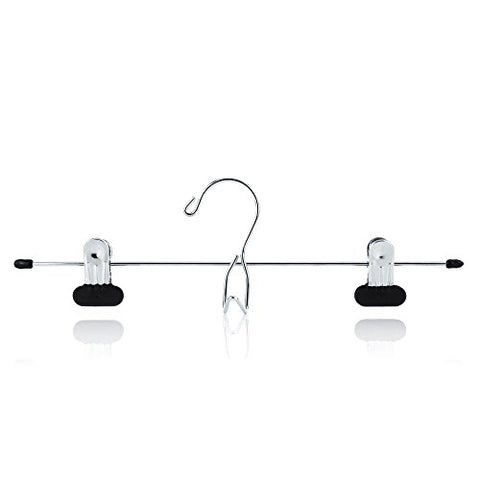 HANGERWORLD 12 Chrome 13.4inch Metal Pants Skirt Adjustable Black Non Slip Clip Coat Clothes Garment Hangers Accessory Hook