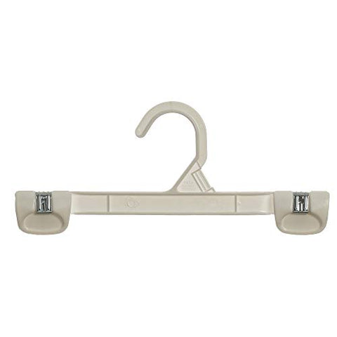 Mainetti 1001 White All Plastic Hangers With Sturdy Plastic Non-Slip Clips, Great For Pants/Skirts/Slacks/Bottoms, 10-Inch (Value Pack Of 200)