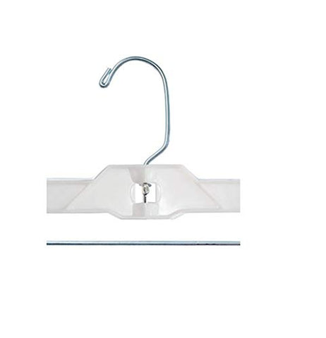 "NAHANCO 1600PCLH Plastic Skirt/Pant Hangers, Heavy Weight with Long Hook and Plastic Clips, 14"" White Hi-Impact (Pack of 100)"