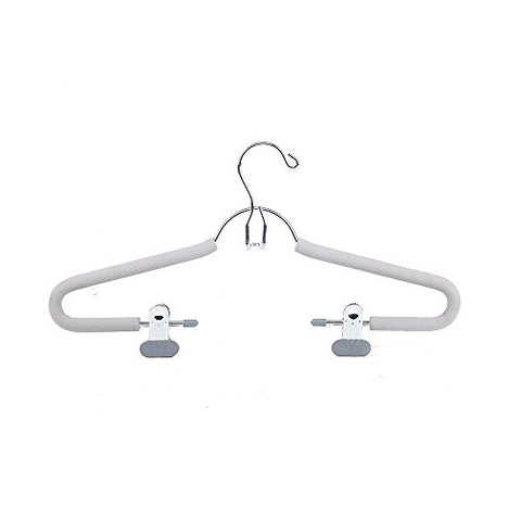 SANSHI Grey Stackable Pants Hangers Skirt Hanger Storage Organizer With Adjustable Clips 3pcs